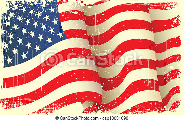 Grungy American Flag Waving - csp10031090