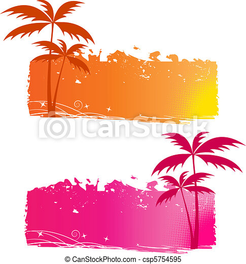 Grungy backgrounds with palm trees - csp5754595