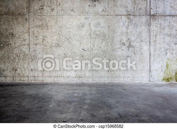grungy, betongvägg, golv - csp15968582