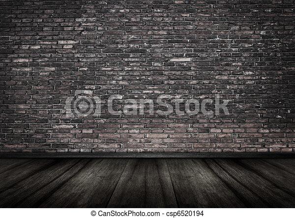 grungy brick wall interior backgrou - csp6520194