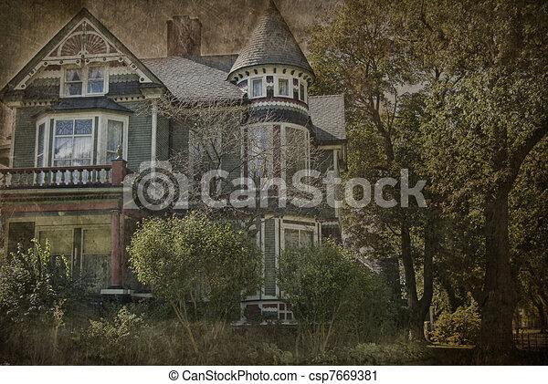 grungy, casa, vitoriano - csp7669381