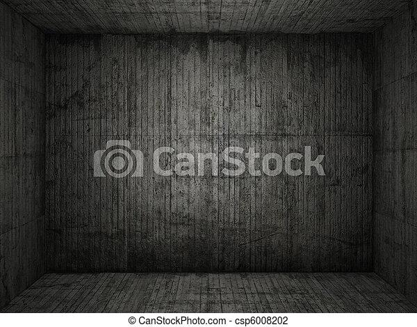 grungy, conrete, rum, bakgrund - csp6008202