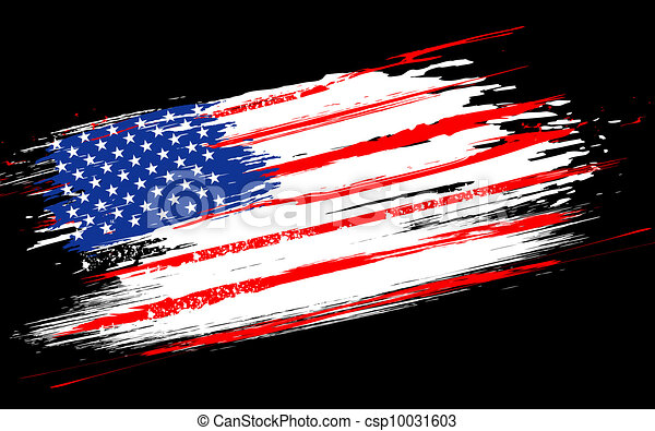 grungy, drapeau américain - csp10031603