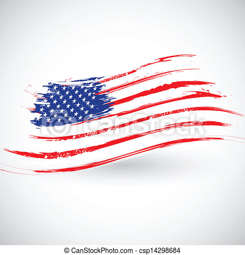 grungy, drapeau américain, fond - csp14298684