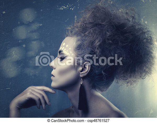 Grungy fashionable female portrait with copy space - csp48761527