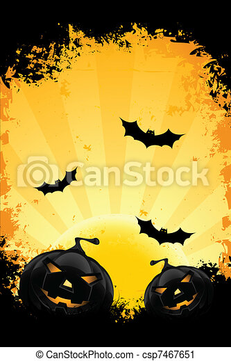 Grungy Halloween background with pumpkins bats and full moon - csp7467651