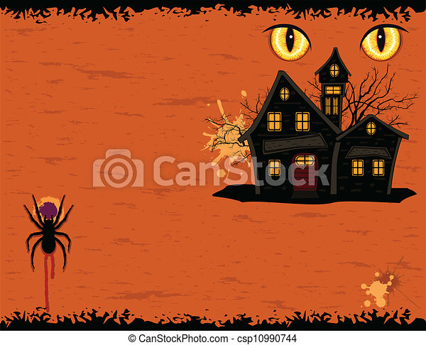 Grungy Halloween party card with ghosts mansion - csp10990744