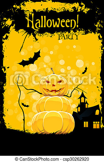 Grungy Halloween Party Card with Pumpkin and Haunted House - csp30262920
