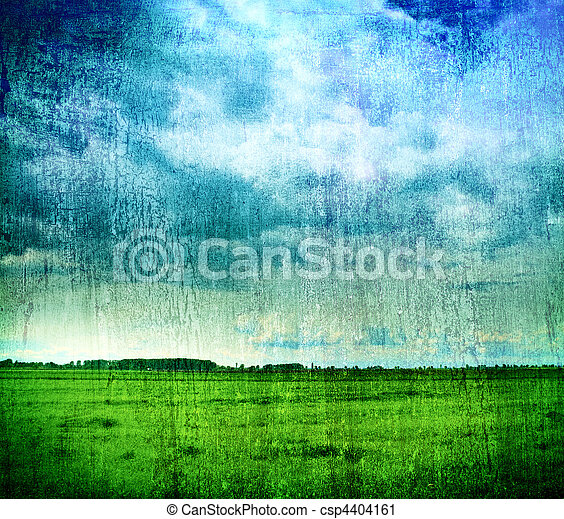 Grungy nature backdrop - grass and cloudy sky - csp4404161
