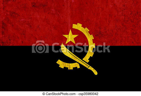Grungy paper flag of Angola - csp35980042
