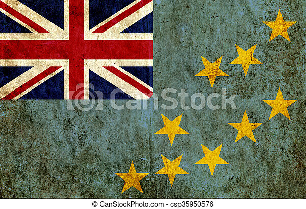 Grungy paper flag of Tuvalu - csp35950576
