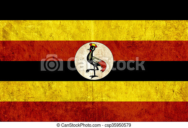 Grungy paper flag of Uganda - csp35950579