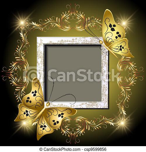 Grungy photo frame, butterflies and golden ornament - csp9599856