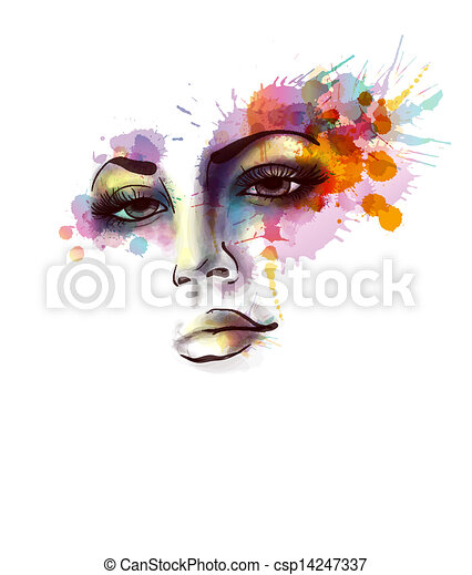 grungy, portret, plamy, samica - csp14247337
