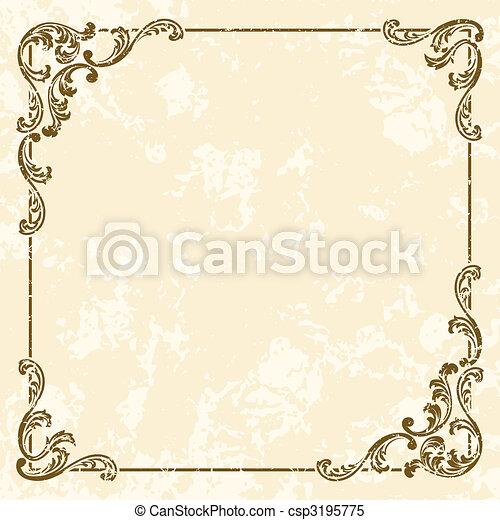 grungy, vendemmia, cornice, quadrato, sepia - csp3195775
