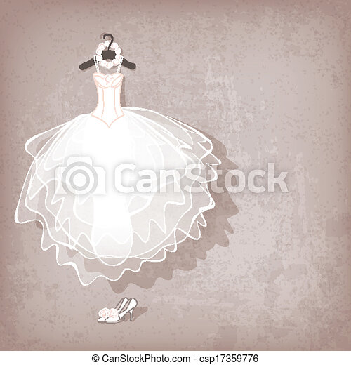 grungy, vestido, plano de fondo, boda - csp17359776