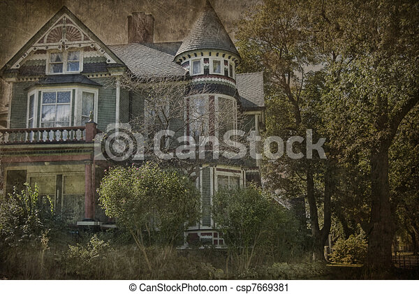 Grungy Victorian house - csp7669381
