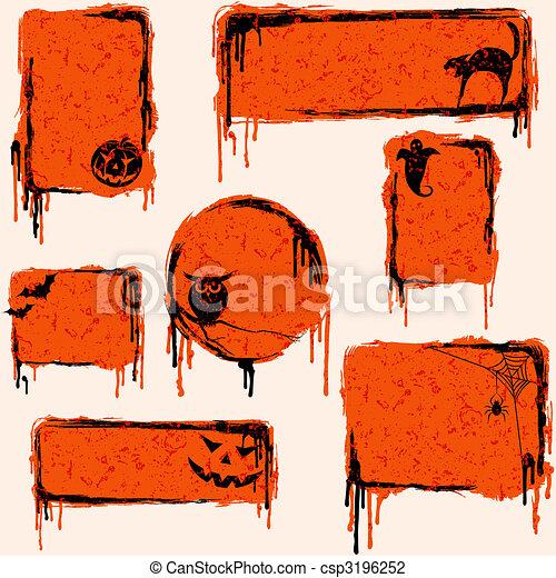 grungy, zaprojektujcie elementy, halloween, zbiór - csp3196252