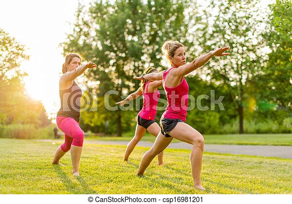 grupa, 3 kobiety, yoga, natura - csp16981201
