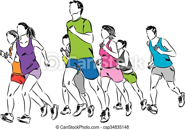 grupa, biegacze, ilustracja - csp34835148