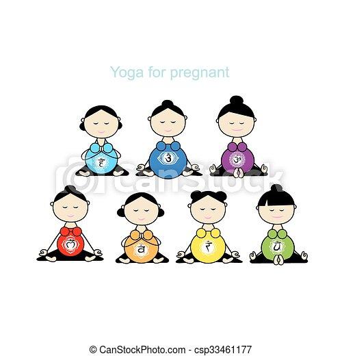 grupa, brzemienny, yoga, projektować, twój, kobiety - csp33461177