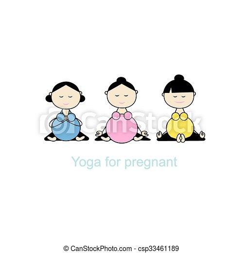 grupa, brzemienny, yoga, projektować, twój, kobiety - csp33461189