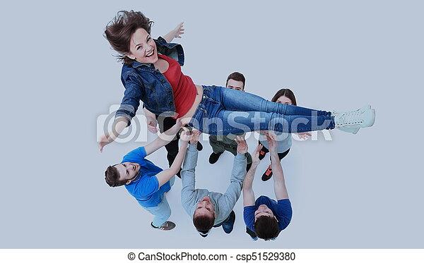 grupa, ludzie, młody, gratulowanie, inny, każdy - csp51529380