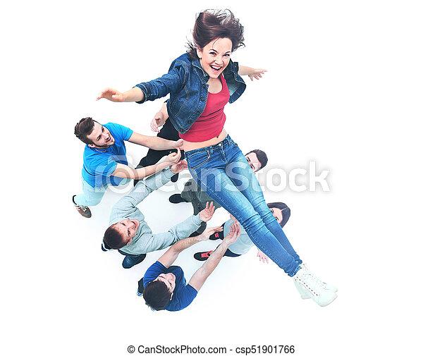 grupa, ludzie, młody, gratulowanie, inny, każdy - csp51901766
