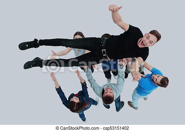 grupa, ludzie, młody, gratulowanie, inny, każdy - csp53151402