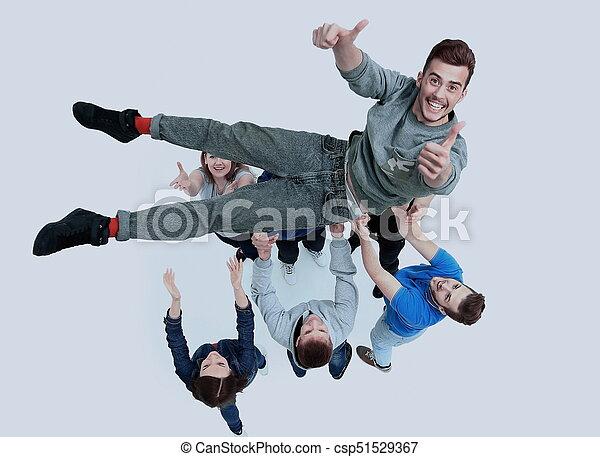 grupa, ludzie, młody, gratulowanie, inny, każdy - csp51529367