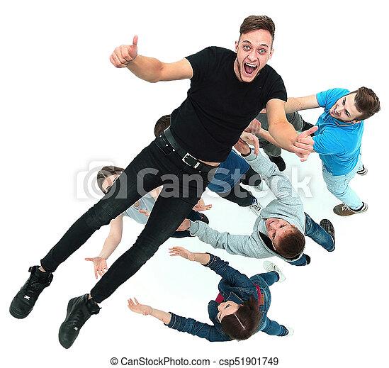grupa, ludzie, młody, gratulowanie, inny, każdy - csp51901749
