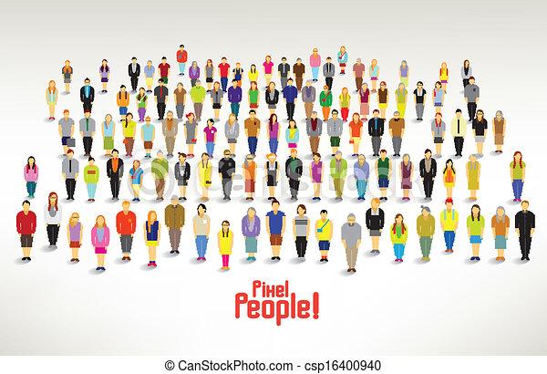 grupa, ludzie, zbierać, wielki, wektor, projektować - csp16400940