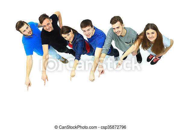 grupa, młody, spoinowanie, ludzie - csp35872796