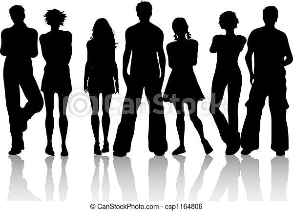grupo, amigos - csp1164806