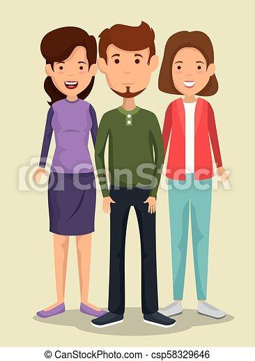 Grupo Amigos Caracteres Grupo Ilustración Vector Diseño