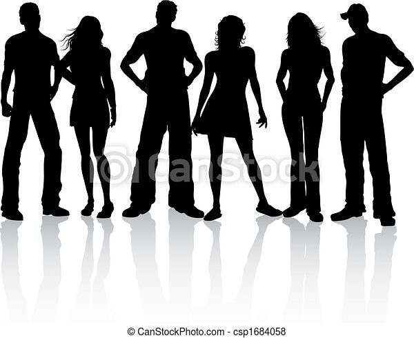 grupo, amigos - csp1684058