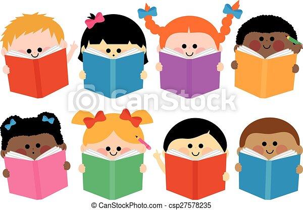 Un grupo de niños leyendo libros. Ilustración de vectores - csp27578235