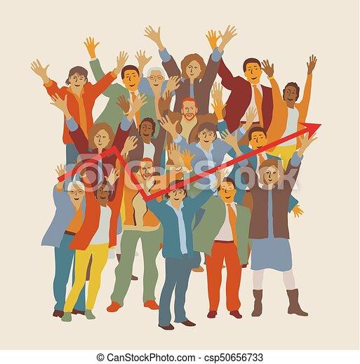 Feliz equipo de grandes grupos de negocios. - csp50656733