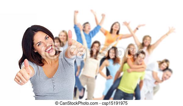 grupo, feliz, portrait., jovens - csp15191975