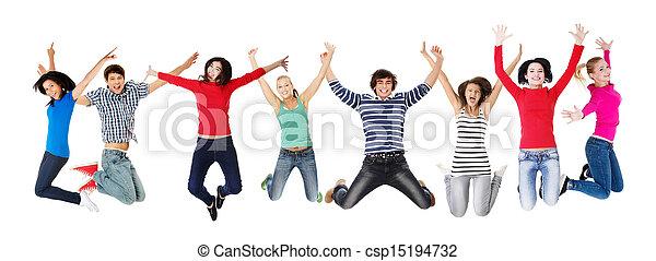 Grupo de jóvenes felices saltando en el aire - csp15194732