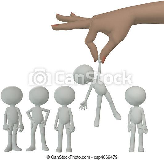 Mano selecciona a la persona de dibujos animados del grupo de personas - csp4069479