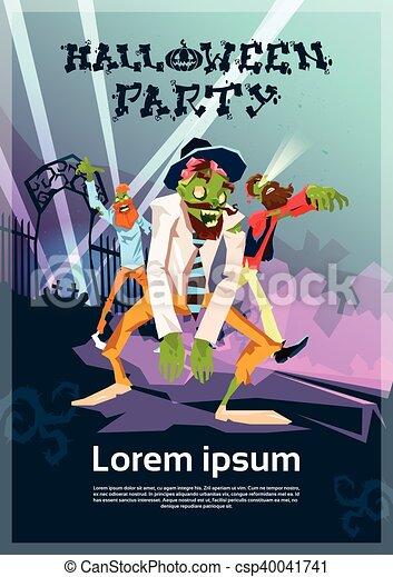 Grupo Halloween Zombi Hipster Invitación Fiesta