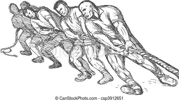 Equipo o grupo de hombres tirando de la cuerda tira de la guerra - csp3912651
