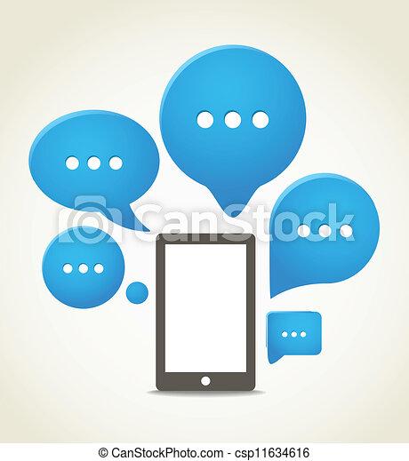 Un teléfono móvil moderno con nubes de habla - csp11634616
