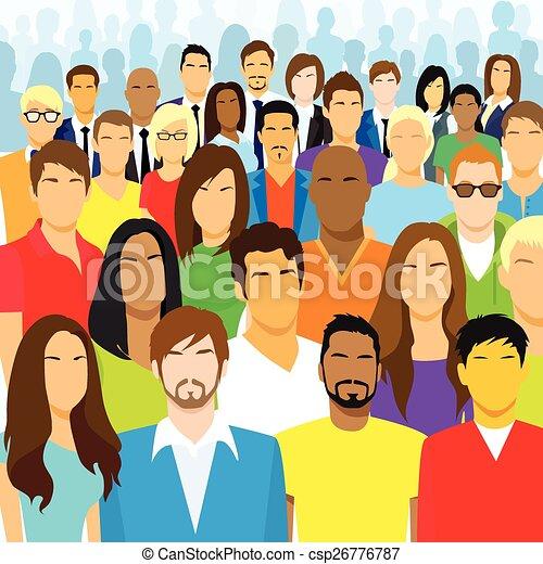 Un grupo de gente casual se enfrenta a una gran multitud diversa - csp26776787