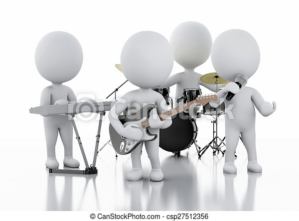 3D blancos. Grupo de música de fondo blanco - csp27512356