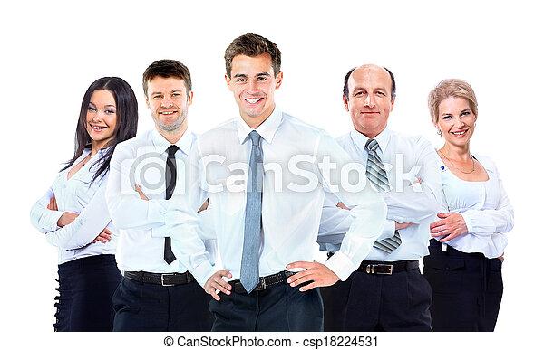 grupo, pessoas negócio, isolado, experiência., team., branca - csp18224531