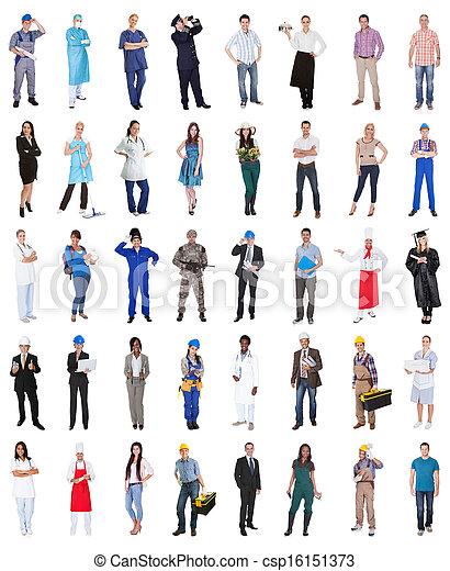 grupo, profesiones, vario, gente - csp16151373