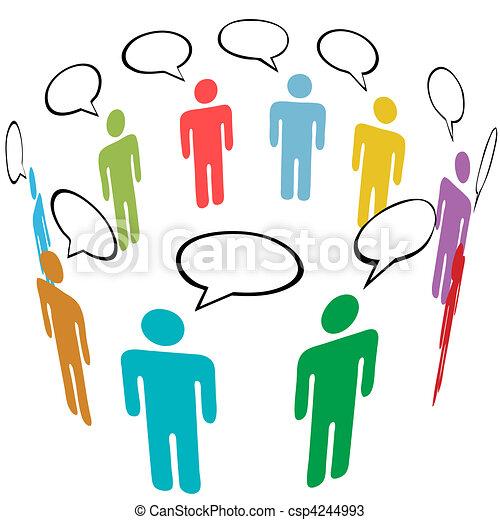 La gente de los símbolos colorea la charla de los medios sociales - csp4244993