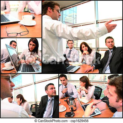 grupp, brainstorming, affär - csp1629456